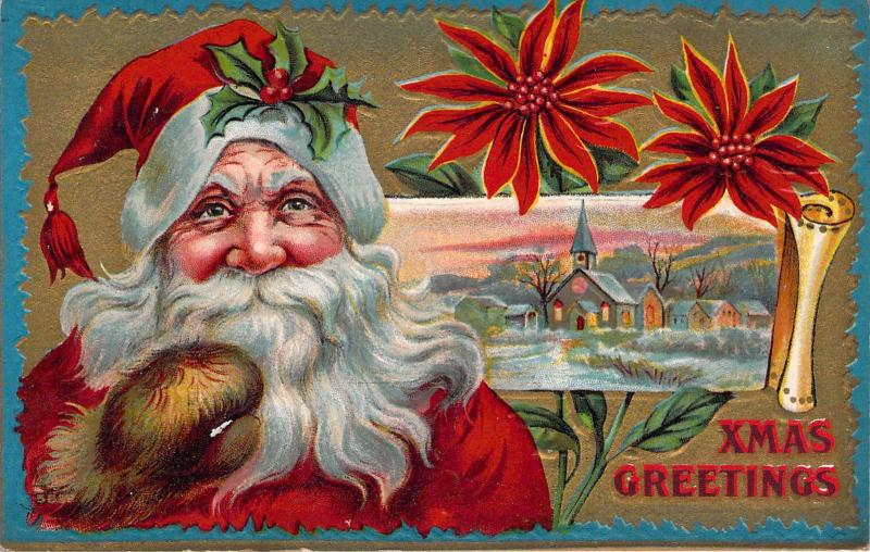 c. 1908, Beautiful Embossed,  Santa, Great Old Postcard
