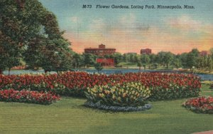 Minneapolis, MN, Flower Gardens, Loring Park, 1952 Linen Vintage Postcard g8448