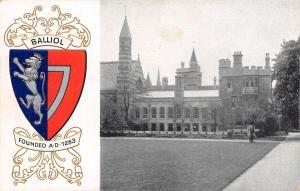 Oxford University~Balliol College Coat of Arms~Castle Turrets~Heraldic~1910 PC