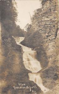 Hammondsport New York~Glen~Waterfall Cascading Down Cliffs~Pre-1908 RPPC