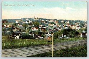 Red Oak Iowa~Bird's Eye View East~Homes Across Railroad Tracks~c1910 Postcard