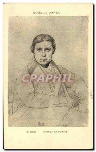 Old Postcard Paris Louvre Museum Ingres portrait painter