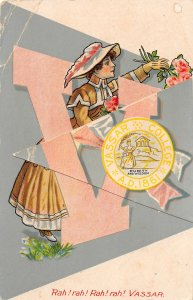G19/ Interesting Postcard Vassar College Girl Pennant OPENS Rah! Rah! C1910