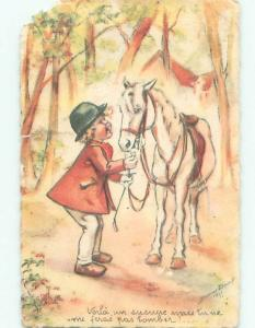 foreign 1941 Postcard FRENCH BOY WITH HIS HORSE AC3223