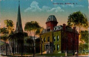 Consistory Buffalo NY c1915 church street view vtg postcard