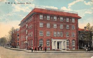 Jackson Michigan~YWCA Building~Children in Front~Girl w Umbrella~1913 Postcard