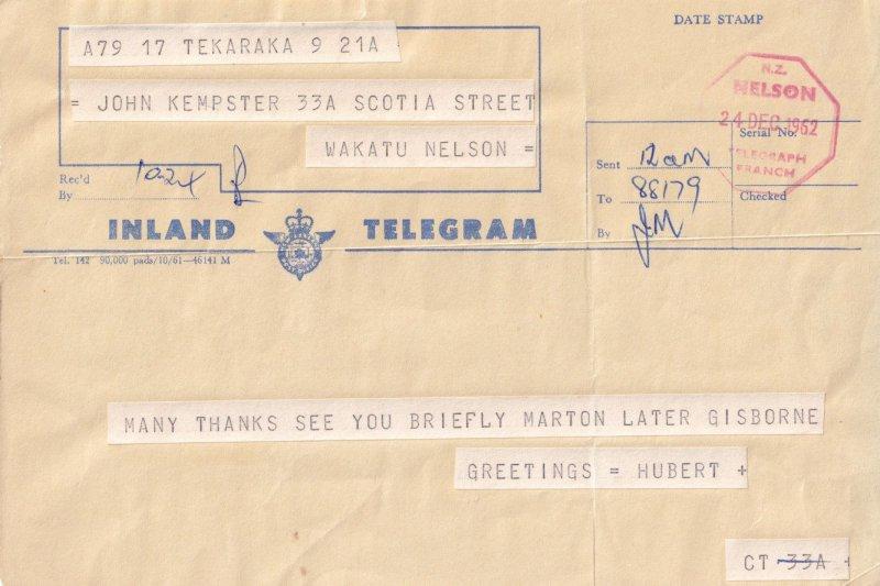 Nelson Telegraph Office New Zealand 1960s Telegram