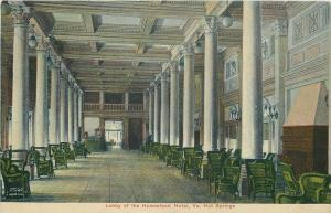 Hot Springs Virginia~Homestead Hotel~Chairs Line Lobby~Marble Pillars~1908 PC