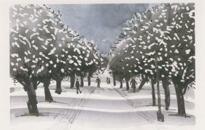 Pedestrians On Primrose Hill London Snowfall Painting Postcard