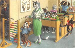 F60/ Alfred Mainzer Dressed Cats Postcard c1940s School Class Abacus 9
