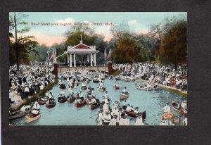 MI Band Stand Lagoon Belle Isle Detroit Michigan Canoes Postcard Botaing