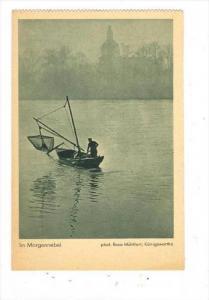 Fisherman in boat, Im Morgennebel, Germany, 1910s