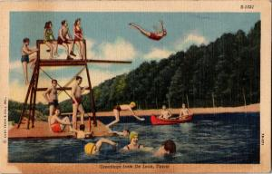 Greetings from De Leon TX Swim Lake Dive Tower Canoe c1953 Vintage Postcard M20