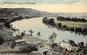 Marietta Ohio~Muskingum River Bend North of Town~Houses~Railroad Tracks~1912 Pc