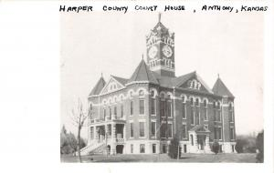 Kansas Ks Real Photo RPPC Postcard c1950 ANTHONY Harper County Court House