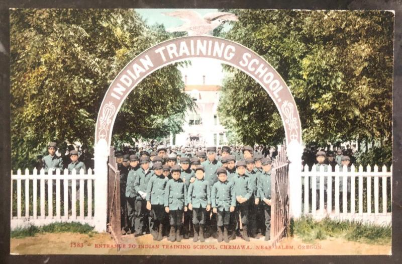Mint USA Real Picture Postcard RPPC Entrance  Indian Training School Chemawa OR