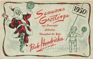 Santa Claus Postcard Old Vintage Christmas Post Card Bob Hendricks Stamp on b...