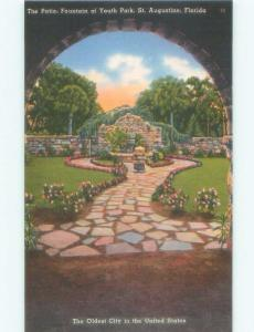 Unused Linen FOUNTAIN OF YOUTH PARK PATIO St. Augustine Florida FL E8048@