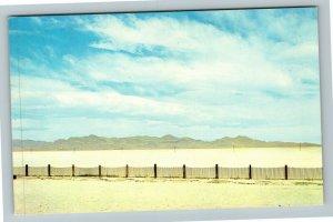 Bonneville Salt Flats UT-Utah, View From US Highway 40, Chrome Postcard