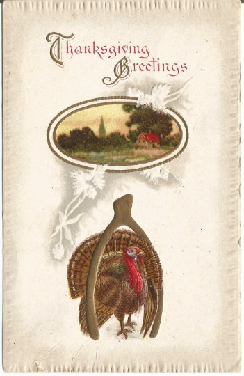 Thanksgiving Greeting Traditional Turkey with Wishbone  Good luck and Prosperity