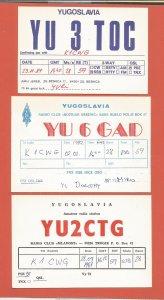 QSL AMATEUR RADIO CARDS – YUGOSLAVIA – 3 DIFFERENT CARDS – 1981-1989 (2)