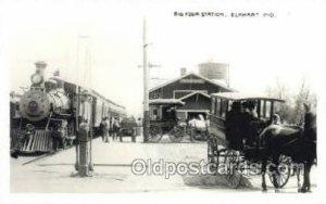 Big Four Station, Elkhart, IN, USA Kodak Real Photo Paper Train Railroad Stat...