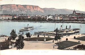 Switzerland Old Vintage Antique Post Card Geneve Le Port Unused