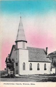 D88/ Warren Minnesota Mn Postcard c1910 Presbyterian Church