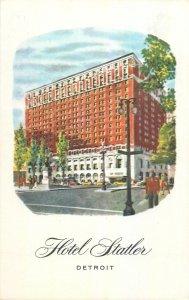 USA Detroit MI Statler hotel illustration Postcard