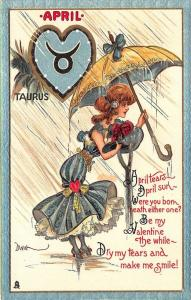 Zodiak Taurus Month April Poem Valentine Signed Dwig Raphael Tuck Postcard