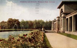 IL - Chicago. Douglas Park, Fountain and Pavilion