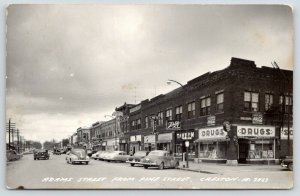 Creston IA~Coke~Bradley Drugs~Schlitz~Tavern~Palm Hotel~Evans Clothes 1940s RPPC