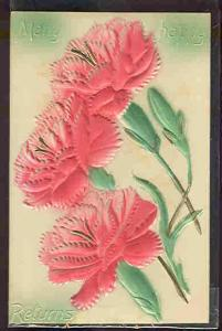 pc6121 postcard Many Happy Returns Celluloid MOBSC Flowers
