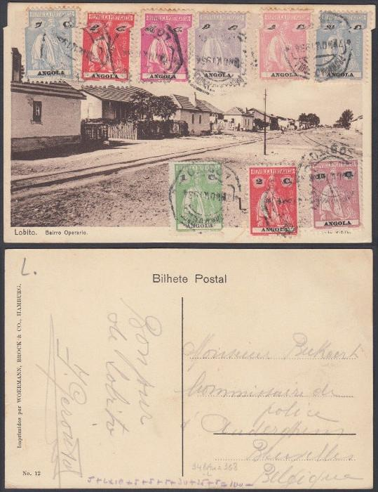 Angola 1934 Used stamps on postcard ( Lobito ) to Belgium