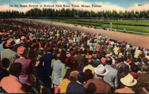 Florida Miami On The Home Stretch At Hialeah Park Race Track 1956