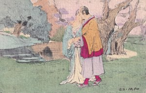 Japanese Lovers Of Hand Crafted Painted Appearance Old 1904 Postcard