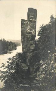 Devil's Chair Graffiti 1920s Taylors Falls Massachusetts RPPC real photo 10277