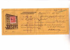 Custom Cheque from AM Bell & Co Prince Edward Island with a Canada Three Cent...