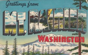 Large Letter Greetings, MT. RANIER,  Washington, 30-40s