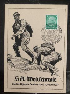 1937 Berlin Germany Picture Postcard cover SA competitions Wettkämpfe