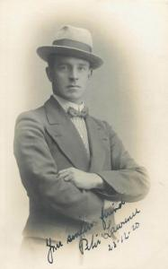 Elegant english men portraits with hats early photo postcards x 3