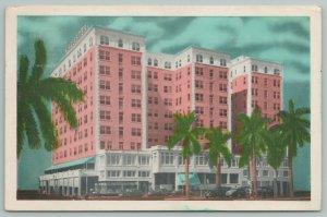 Miami Florida~The McAllister Hotel~Palm Trees~Schine Hotels~Vintage Postcard