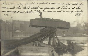 Conneaut OH Cancel 2 Train Rail Cars into River Accident Coal? 1906 Used RPPC