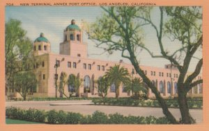 VINTAGE LINEN POST CARD - TERMINAL ANNEX POST OFFICE, LOS ANGELES, CA