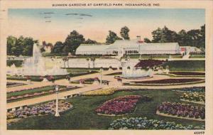 Indiana Indianapolis Sunken Gardens At Garfield Park 1945