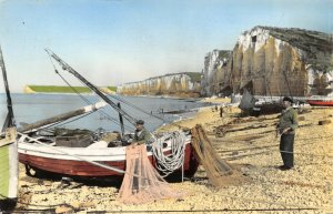 Vintage 1965 RP France Postcard, Yport, Normandy, Preparations for Fishing DL2