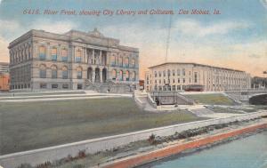 On the Des Moines River IA~Library~Coliseum (Burned Down 1949) c1910 Acmegraph