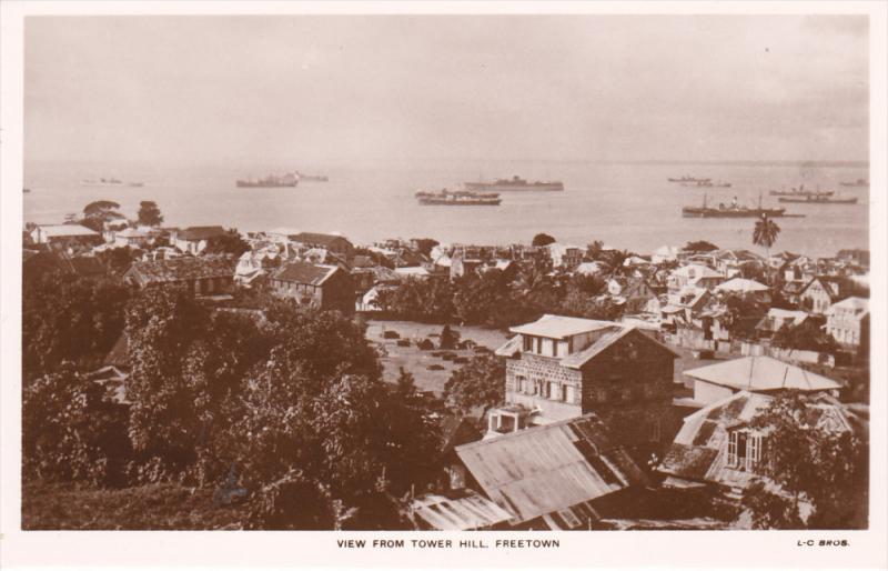 RP, View From Tower Hill, Ships/Steamers, FREETOWN, SIERRA LEONE, 1920-1940s