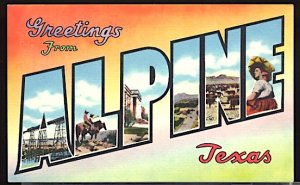 USA Postcard Large Letter Greetings From Alpine Texas