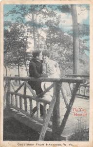 C56/ Greetings from HASTINGS West Virginia WV Postcard Romance c1910